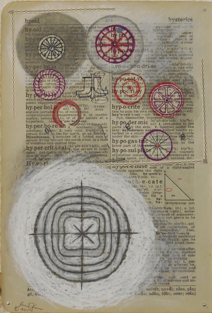 James Halvorson_Primitive Mechanics_Art_Ink_Typewriting_Collage_Graphite_Vintage Paper_Dictionary_Drawing
